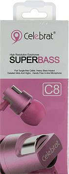 Навушники вакуумні метал. Celebrat C8 (гарнітура) pink+мікрофон