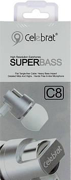 Навушники вакуумні метал. Celebrat C8 (гарнітура) silver+мікрофон