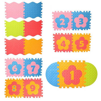 Килимок-мозаїка, 9дет.,пазли,цифри,EVA,в пакунку,61х32х8см №M6097(8)