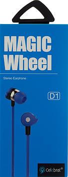 Навушники вакуумні Celebrat D1 (гарнітура) blue+мікрофон