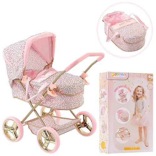 Коляска для ляльок 4 колеса,люлька,кошик,в кор-ці,56х34х12см №D-86486(4)