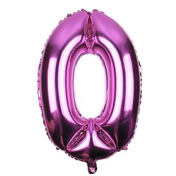"""Кулька повітр. """"Цифра-0"""" 32"""" рожева фольга(10)"""