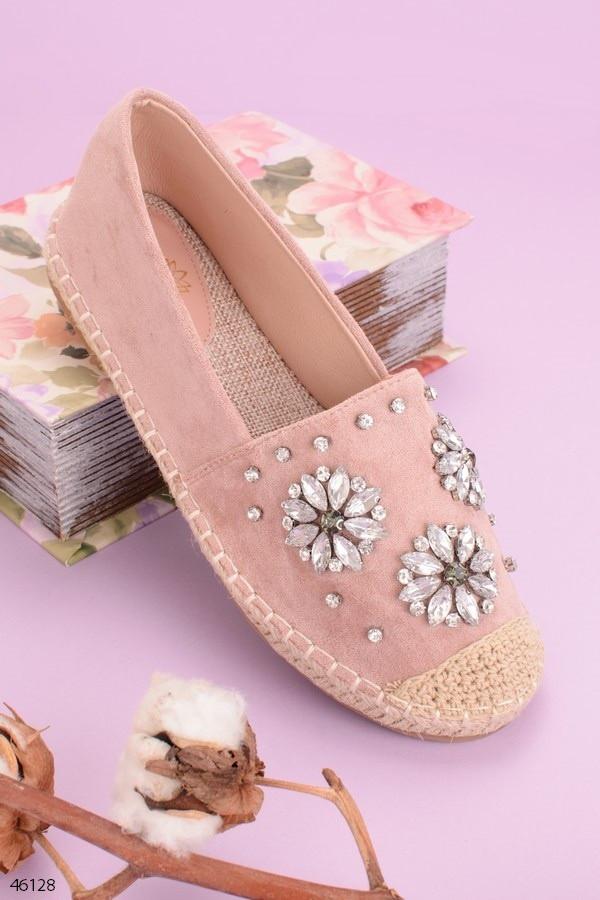 Эспадрильи женские розовые/ пудровые с камнями эко замш