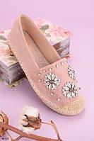 Эспадрильи женские розовые/ пудровые с камнями эко замш, фото 1