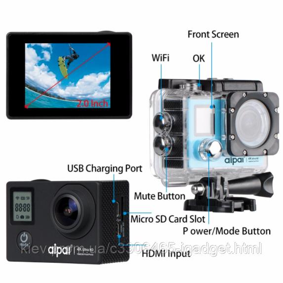 Екшн Камера А1 2 Екрана + пульт + 24 крепления