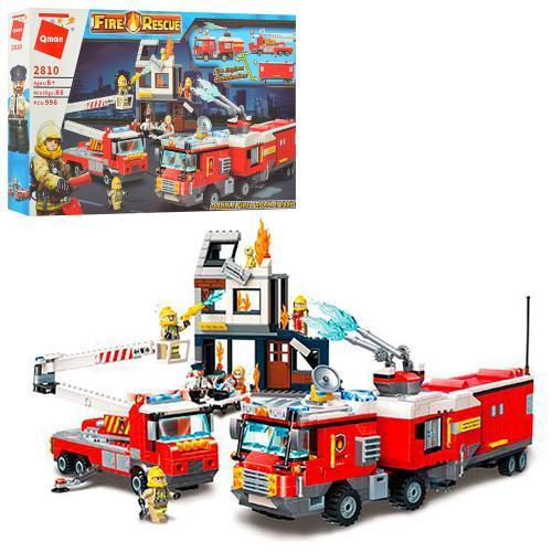 """Конструктор """"Qman"""" Пожежники,будівля,фігурки,996дет.,в кор-ці,62х40х8см №2810(5)"""