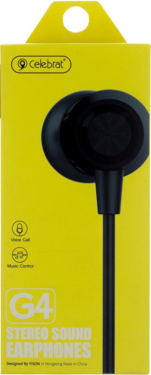 Навушники вакуумні Celebrat G4 (гарнітура) black+мікрофон