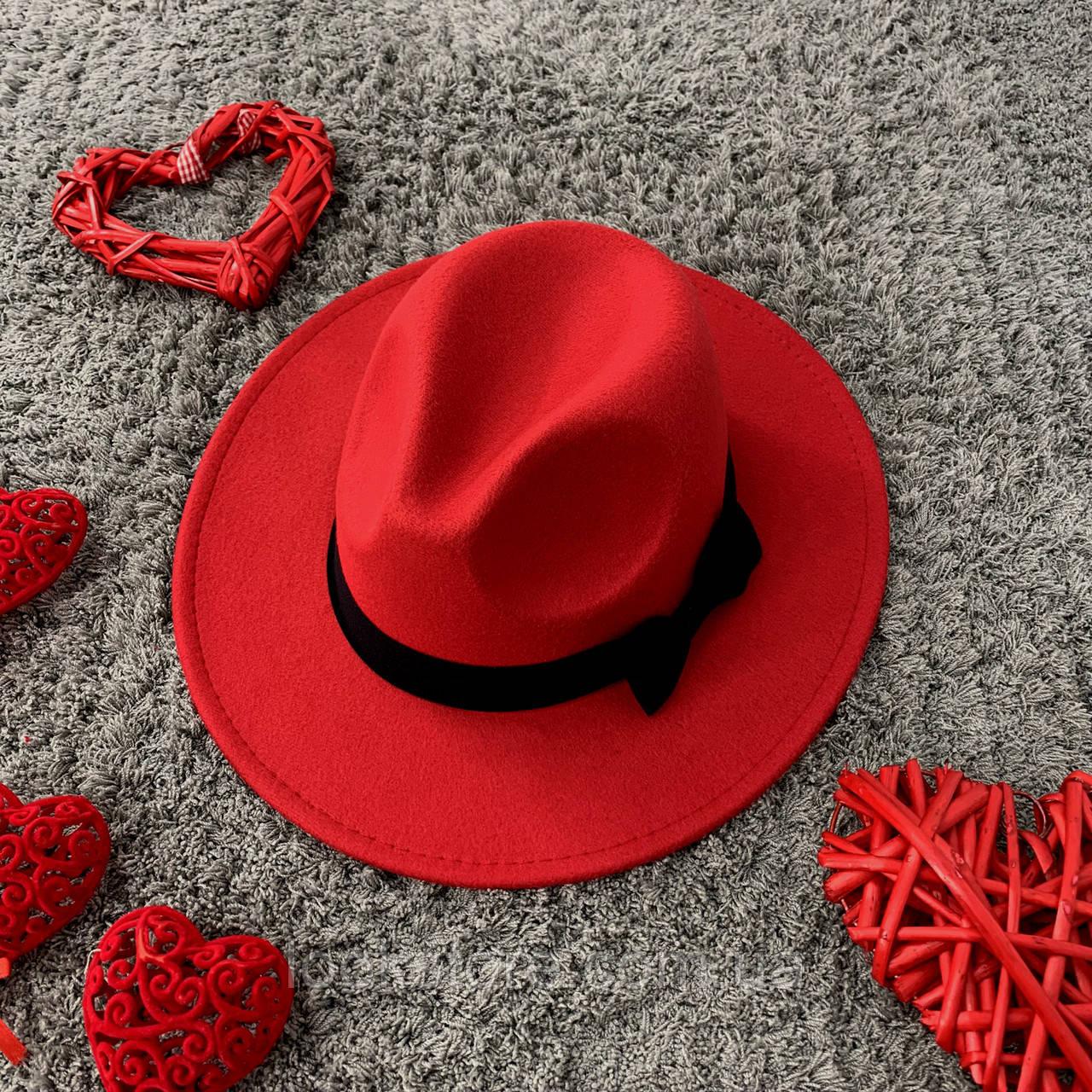 Шляпа женская Федора с устойчивыми полями и бантиком красная