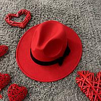 Шляпа женская Федора с устойчивыми полями и бантиком красная, фото 1