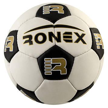 М'яч футбольний Ronex, чорно-білий,шкіра №RX-SWK-310