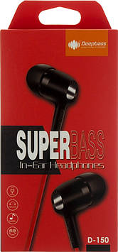 Навушники вакуумні Deepbass D150 (гарнітура) black/red+мікрофон