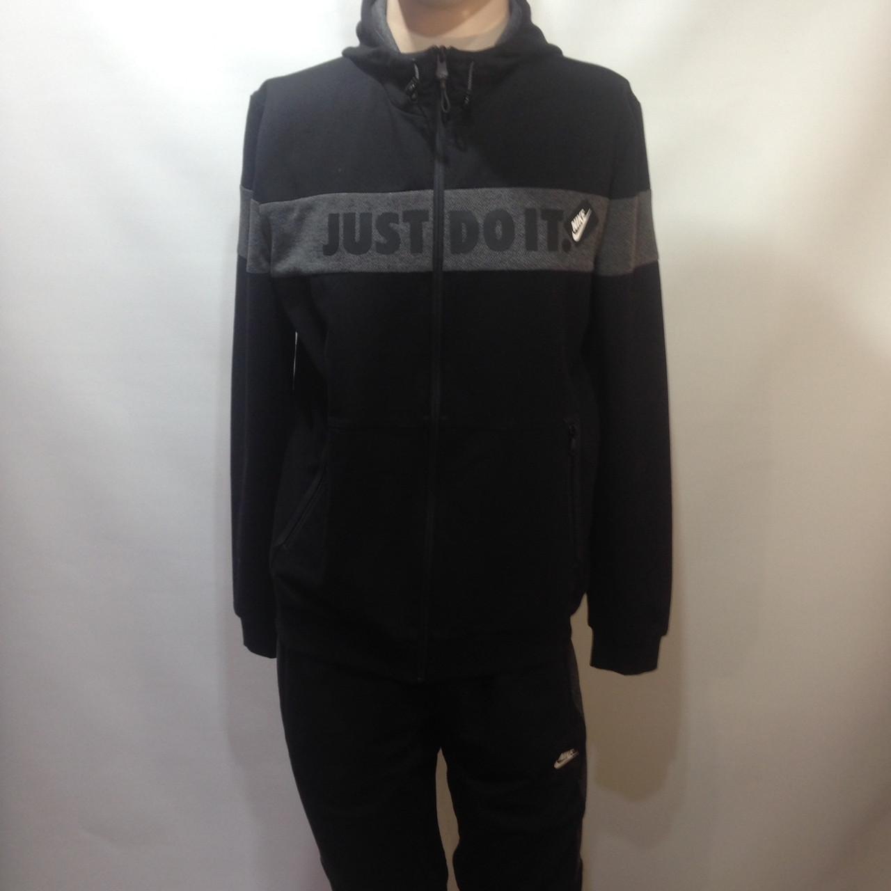 Мужской спортивный костюм в стиле Nike черный отличного качества