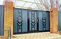 Металлические раздвижные ворота TM Hardwick с врезной калиткой ш3100 в2000 (дизайн Премиум)