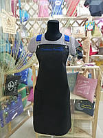 Фартух майстра манікюру сині бретелі + ваш логотип, фото 3
