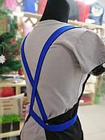 Фартух майстра манікюру сині бретелі + ваш логотип, фото 4