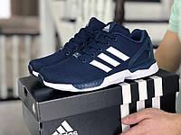 Мужские кроссовки Adidas Zx Flux, темно-синие с белым 43