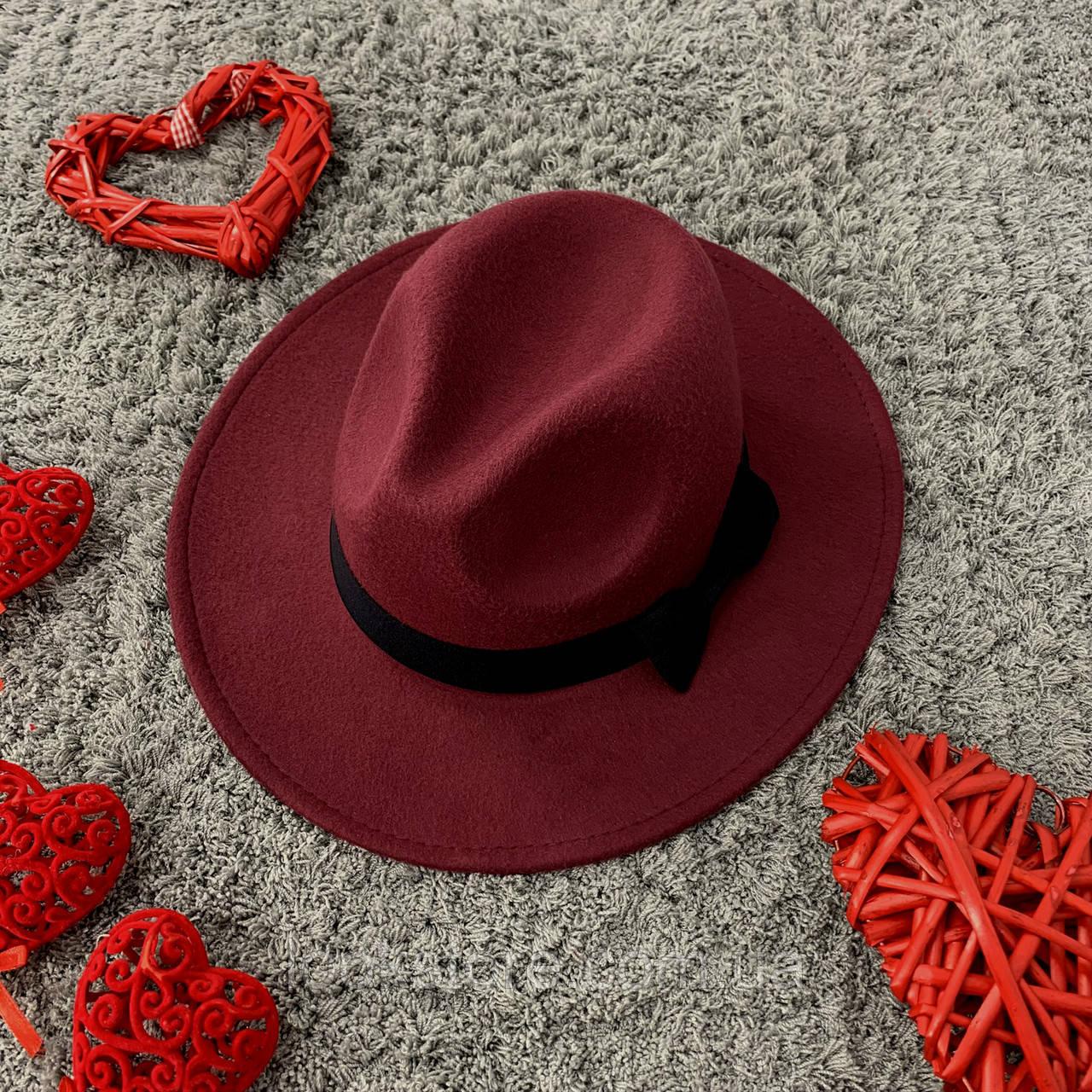 Шляпа Федора унисекс с устойчивыми полями и бантиком бордовая (марсала)