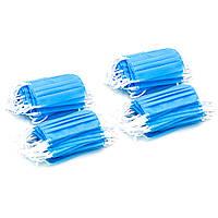 Маска 200 шт защитная двухслойная с белыми резинками, Синяя