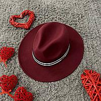 Шляпа Федора унисекс с лентой в полоску в стиле Maison Michel бордовая (марсала), фото 1