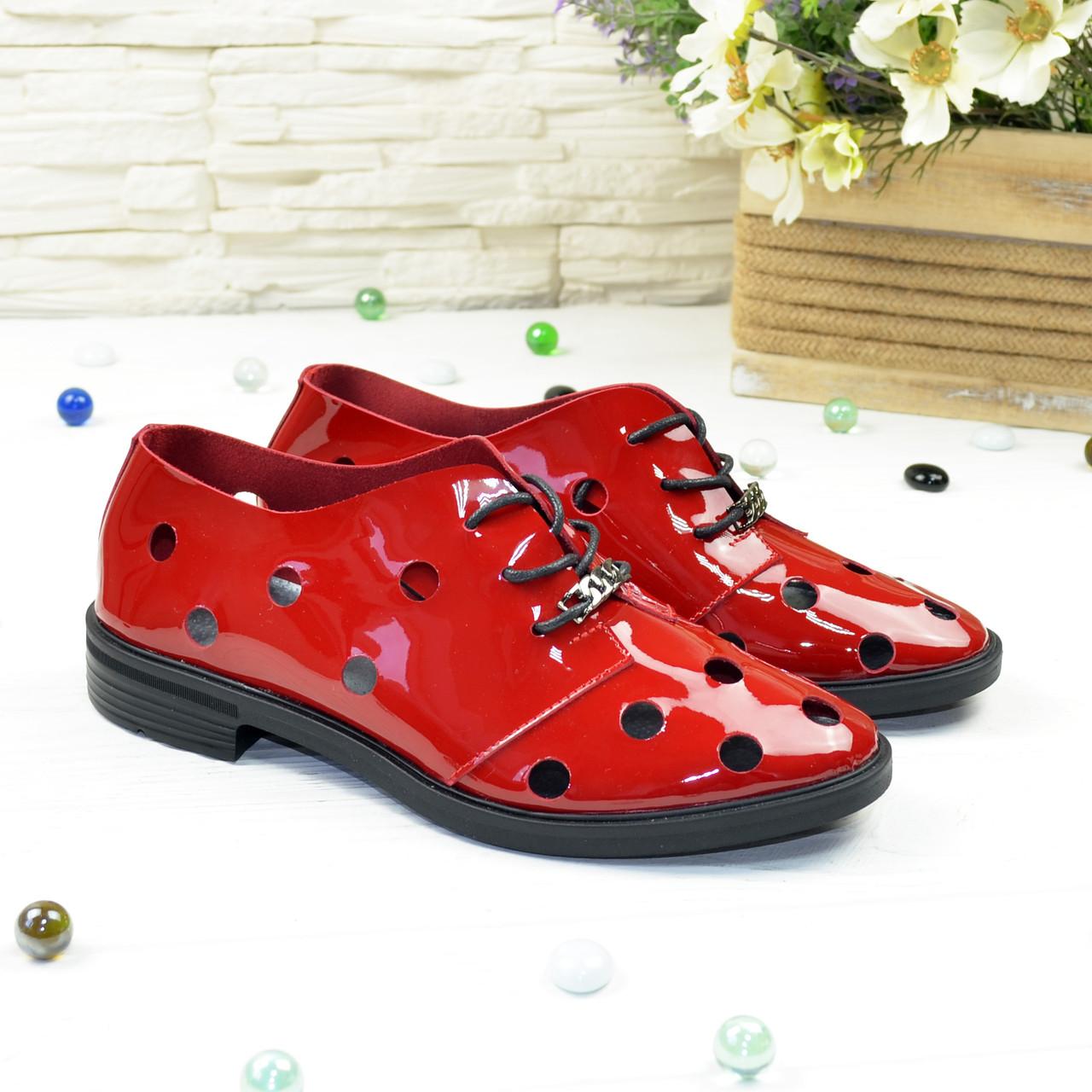 Туфлі жіночі лакові на плоскій підошві, на шнурках. Полегшений варіант