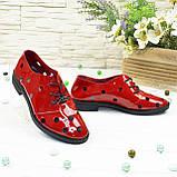 Туфлі жіночі лакові на плоскій підошві, на шнурках. Полегшений варіант, фото 3