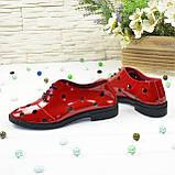 Туфлі жіночі лакові на плоскій підошві, на шнурках. Полегшений варіант, фото 2