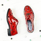 Туфлі жіночі лакові на плоскій підошві, на шнурках. Полегшений варіант, фото 4
