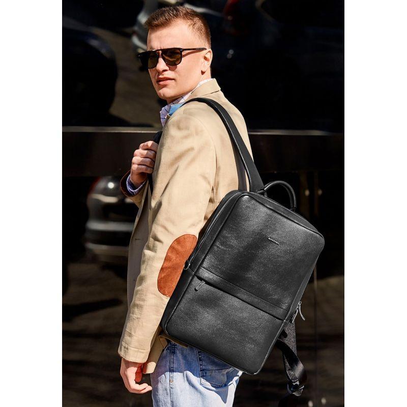 Черный кожаный мужской рюкзак Foster