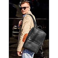 Черный кожаный мужской рюкзак Foster, фото 1