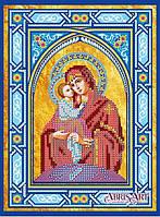 Схема для вышивки иконы бисером на натуральном художественном холсте Икона Богородицы «Почаевская», АСК-146