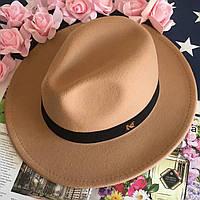 Шляпа женская Федора с лентой в стиле Maison Michel и устойчивыми полями унисекс бежевая