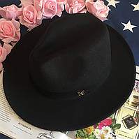 Шляпа женская Федора с лентой в стиле Maison Michel и устойчивыми полями унисекс черная
