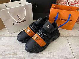 Мужские кроссовки Philipp Plein Runner PP1978 Black/Orange, Реплика