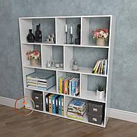 Полка для книг, стеллаж для дома 12 ячеек ДСП. P0027