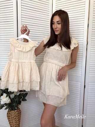Парный набор платьев мама и дочка хлопок, фото 2