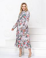 Элегантное романтичное платье цветы основа серый, фото 1