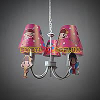 Детская люстра с розовыми плафонами на 5 лампочек МD 14005-5AAN