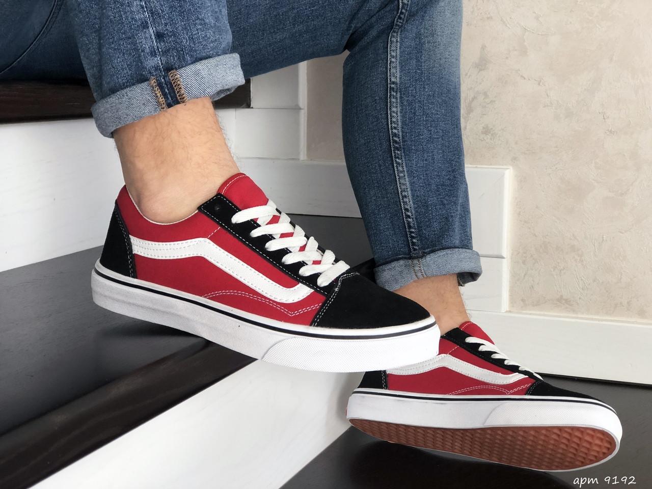 Чоловічі кеди - кросівки Vans чорні з червоним / чоловічі кеді Ванс (Топ репліка ААА+)