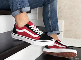 Мужские кеды - кроссовки Vans черные с красным / чоловічі кеди Ванс (Топ реплика ААА+)