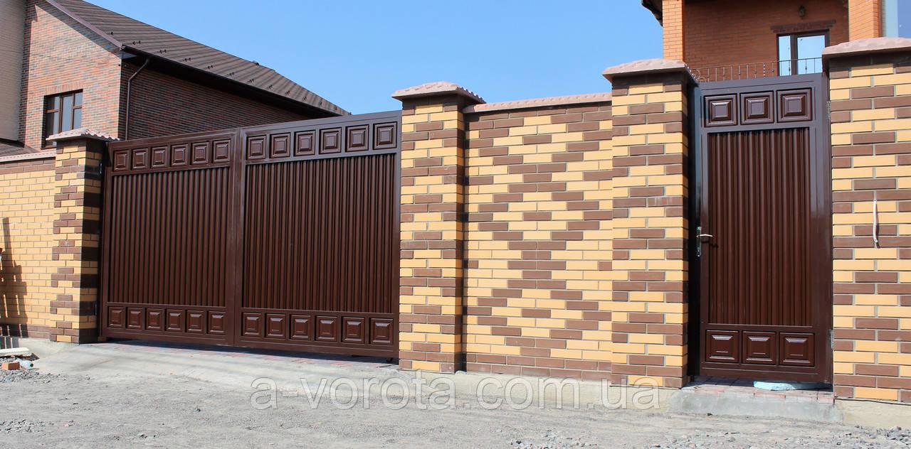 Ворота металеві розпашні TM Hardwick ш4000 в2000 мм і хвіртка ø1000 в2000(дизайн Преміум)