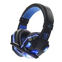 Проводная гарнитура SOYTO SY830MV Black + Blue с микрофоном для общения по скайпу компьютерная для геймеров