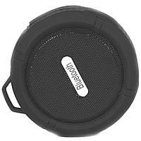 Портативная колонка Lesko BL C6 черная водонепроницаемая с микрофоном bluetooth USB micro SD card для музыки