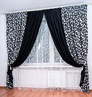 Комбинированные шторы блекаут, цвет черный Код: 014дк (01ша - 043ш(а)