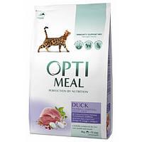 Сухой корм OPTIMEAL для взрослых кошек с эффектом выведения шерсти - УТКА 4 кг.