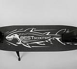 Самокат двухколесный складной с передним амортизатором Best Scooter Shark 54200 черный, фото 5