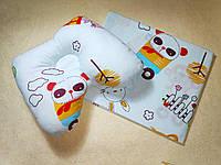 Набор Подушка ортопедическая для новорожденного бабочка и простынь в коляску