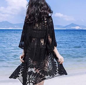 Пляжний халат чорного кольору туніка, фото 2