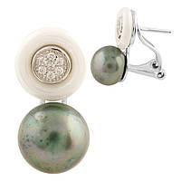 Серебряные серьги Kolibri с натуральным жемчугом, керамикой (1522011)