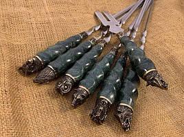 """Шампура подарункові з мармуровими ручками """"Дикі звірі"""" + вилка в шкіряному сагайдаку"""
