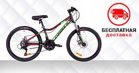 """Велосипед 24"""" Formula ACID 1.0 AM 14G DD Al 2019 (черно-зеленый с красным (м))"""